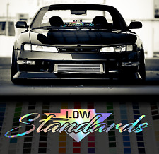 "24"" Low Standards holographic oil slick chome windshield sticker JDM Mugen decal"