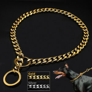 Heavy Duty Large Dog Metal Steel Choker Check Training Chain Collars Show Slip