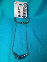 New Claire's Purple Blue Crystals Necklace Bracelet And Dangling Earrings Set