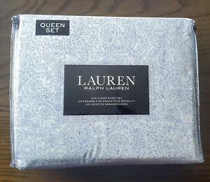 Ralph Lauren White Dark Blue Paisley Cotton Queen Sheet Set 4pc New