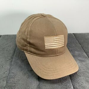 Competition Headwear Cap Hat Brown Snap Back Beige Flag Patch On Solid Tan USA