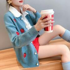 Womens Ladies Korean Fashion Sweet Strawberry Cardigan Sweaters Coat Outwear 311