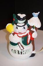 Vintage Personalized Arthur Ceramic Mr Snowman Glitter Broom Bird 7.5'H Lighted
