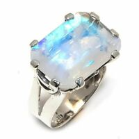 Rainbow Moonstone Natural Gemstone 925 Sterling Silver Ring Size 6.5 R-54