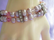 PEARLY LAVENDER Bracelet PINK Faux Pearls 2 Strand Rhinestones Glass Beads Mauve