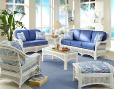 American Rattan Regatta Indoor White Wicker 4 Pc Living Room Set