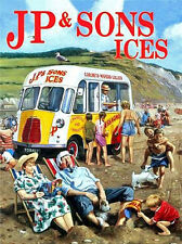 JP & Sons Classic Bedford Ice Cream Van Beach Deck Chairs Small Metal Tin Sign