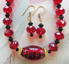 """FACETED DARK RED GLASS RONDELLE necklace, LAMPWORK FOCAL BEAD, earrings 17 1/2"""""""