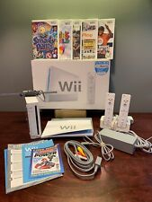 Nintendo Wii Console White RVL-001 Bundle Tested+Cables+7 Games+Controllers+More