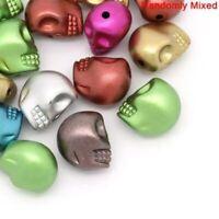 100Pcs Acrylic Halloween Gothic Skeleton Skull Spacer Beads Jewelry 13mm x 11mm