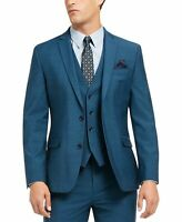 Bar III Mens Blazer Teal Blue Size 36 Short Slim Fit Two-Button $425 #001