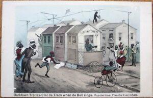 Black People/Darktown Trolley to Blackville, Bicycle 1910 Artist-Signed Postcard