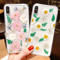 For iPhone X XS MAX XR 8 7 6 Handmade Real Dried Pressed Flowers Phone Case NEW