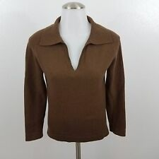 bergdorf goodman collection sweater 100% cashmere S brown v-neck womens long
