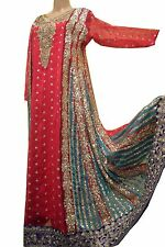 TRADITIONAL BENGALI/ PAKISTANI/ INDIAN COCKTAIL GOWN DRESS - SOLID DARK PINK & A