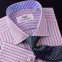 Red White Check Formal Business Dress Shirt Tattersall Striped Blue Gingham B2B