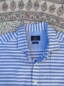 HACKETT - White-Blue - Striped - Cotton Oxford - Button Cuff - Shirt - XXL