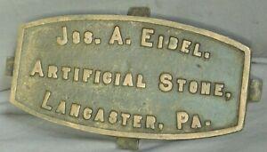 Antique Joseph Eibel Architectural Foundation Marker Lancaster Pennsylvania OLD