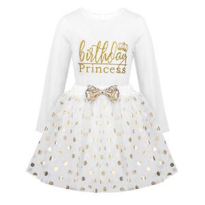 Girls Birthday Princess Dress Outfit Kids Polka Dots Tops Tutu Skirt Set Clothes