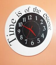 "13"" ROUND TIME IS OF THE ESSENCE BLACK & WHITE WOODEN WALL CLOCK. RETRO LOOK"