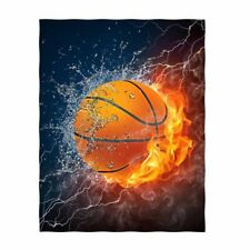 Qh Basketball Print Throw Blanket Comfort Design Home Decoration Fleece Blanket