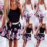 ️ Women's Sleeveless Boho Floral Skater Dress Ladies Evening Party Mini Dresses