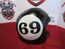 "Vintage Custom Painted Helmet Hot Rod Black With ""69"" Logo & Checker Stripe"