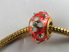EXQUISITE RED FABERGE EGG CHARM BEADS EUROPEAN STYLE CHARM BRACELETS  (FAB 050)