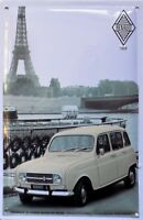 PLAQUE METAL publicitaire vintage RENAULT 4 PARIS 1959   - 30 x 20 cm