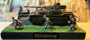 WW 2 Diorama 28mm(1/56) German Panzer IV & 5 Figs. (Rubicon Models) Hand Painted