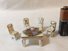 Limoges Miniature White/Gold Fragonard Table and 4 Chairs  #5386