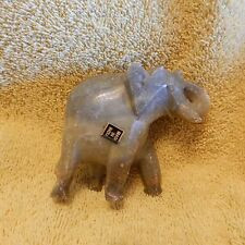 Hand Carved Made in India Small Elephant - Soapstone? / Light Olive Green
