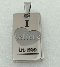 Believe Pendant Necklace Inspirational Affirmation Stainless Steel Silver