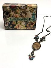 Michal Negrin Necklace Floral Cameo Medallion Swarovski Victorian Antique