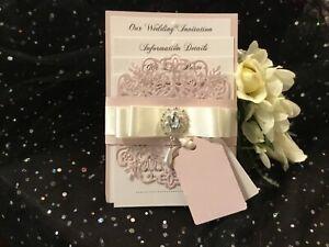WEDDING INVITATION VINTAGE PINK BLUSH PEARL & IVORY   CARD WRAP  LASER CUT