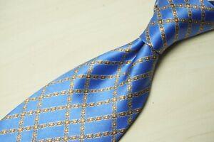 LUXURY Stefano Ricci Sateen Sky Blue Gold Geometric Silk Tie Made in Italy