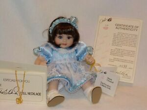 """9"""" Tiny Tots Porcelain Doll """"Olive May"""" By Marie Osmond 1999 Necklace & Cert."""