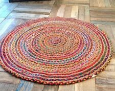 Round Woven Cotton & Jute Indian Bohemian Braided Area Decorative Floor Area Rug