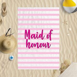 "58 x 39"" Beach Towel Maid Of Honour Pink Striped Design Microfibre Wedding"