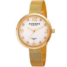 New Women's Akribos XXIV AK875YG Gold-tone Diamond Markers Mesh Bracelet Watch