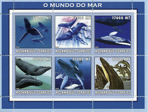 Mozambique Whales Stamps 2002 MNH Marine Animals Life Fauna 6v M/S
