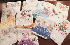 Vintage Embroidered 14 Pillowcases Lot Southern Belle Butterflies Crochet Trim