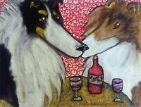 ROUGH COLLIE at the Bistro Drinking Merlot Wine Dog Pop Art Print 8 x 10 KSAMS