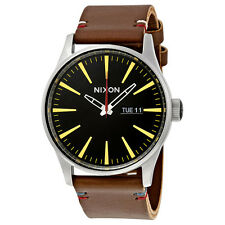 New Nixon Sentry Black Dial Brown Leather Strap Mens Watch A105019