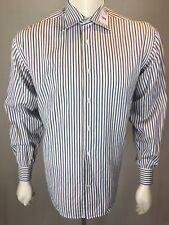 Men's Peter Elliot Doppio Ritorto 16 1/2 (42) Large Red White Blue L/S Shirt