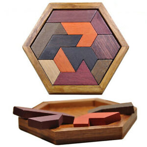 Puzzle Game For Kid Adult Hexagonal Tangram Board Brain Teaser Educational Toy