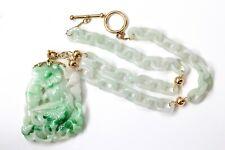and Carved Pendant 18K, 14K Gold Jadeite Jade Interlocking Ring Link Chain