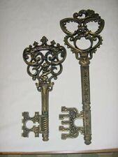 2 Black / Gold Gothic Skelton Key Wall Plaques Dart Usa Homco Home Interior
