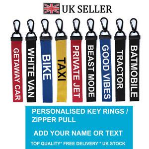 Custom DRIVE Key Chain Key ring Luggage Personalised Name Text Tag Zipper Pull