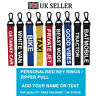 Custom DRIVE Key Chain Key ring Luggage Personalised Name Text Tag Zipper Pull